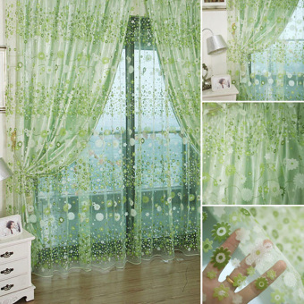 Floral Printed Tulle Voile Window Curtain Sheer Drape Panel 200x100CM Green - 4