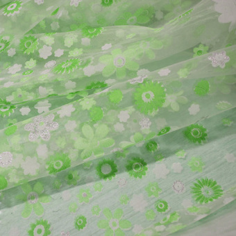 Floral Printed Tulle Voile Window Curtain Sheer Drape Panel 200x100CM Green - 3
