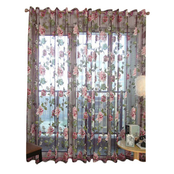 floral tulle window curtain (pueple)