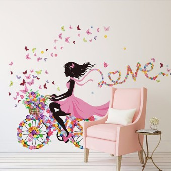 Flower & Girl Removable Wall Sticker Vinyl Decal DIY Room Home Mural Decor