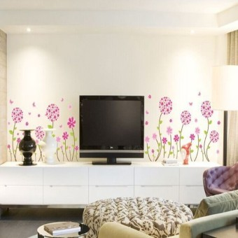 Flower Romatic TV Brackground Removable Vinyl Wall stickers - picture 2