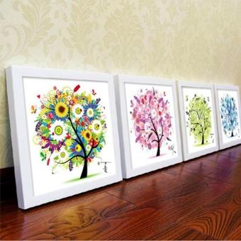 Flower Tree Pattern 4 Seasons DIY 5D Diamond Painting Mosaic RoundCrystal Cross Stitch Diamond Embroidery Kits, Pack Of 4 HomeDecoration - intl - 2