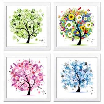 Flower Tree Pattern 4 Seasons DIY 5D Diamond Painting Mosaic RoundCrystal Cross Stitch Diamond Embroidery Kits, Pack Of 4 HomeDecoration - intl - 3