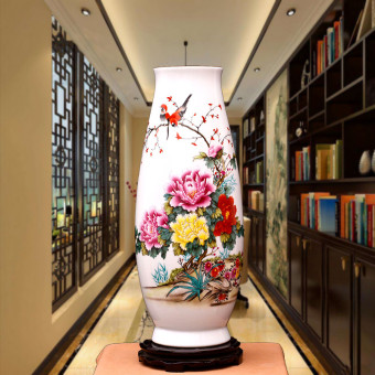 Flowers and birds living room library floor ceramic vase porcelain vase