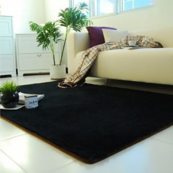 Fluffy Anti-skid Shaggy Area Rug Yoga Carpet Home Bedroom Floor Dining Room Mat Black