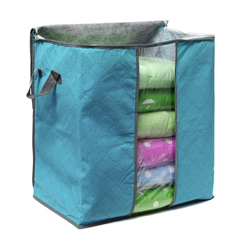 Foldable Clothes Pillow Blanket Closet Underbed Storage Bag Blue-S