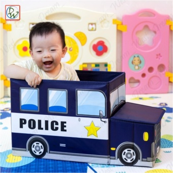 Foldable Ottoman Police Storage Box Kids Chair Box 50cmx32cmx31cm(White/Blue)