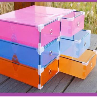 Foldable Plastic Stackable Drawer Shoe Box Small