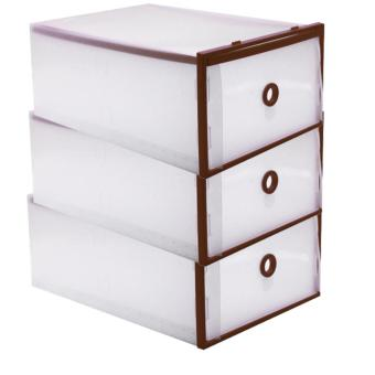 Foldable Plastic Transparent Drawer Case Shoe Storage OrganizerStackable Box (Brown) Set of 3 (Big)