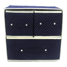 Foldable Woven Clothing Storage Box Dotted Dark Blue
