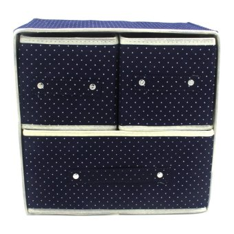 Foldable Woven Clothing Storage Box (Dotted Dark Blue)