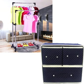 Foldable Woven Clothing Storage Box (Dotted Dark Blue) With HighQuality DIY Double Pole Stainless Steel Clothes Rack