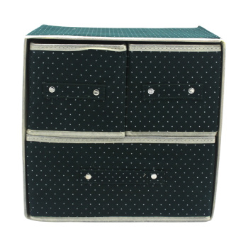 Foldable Woven Clothing Storage Box (Dotted Green)