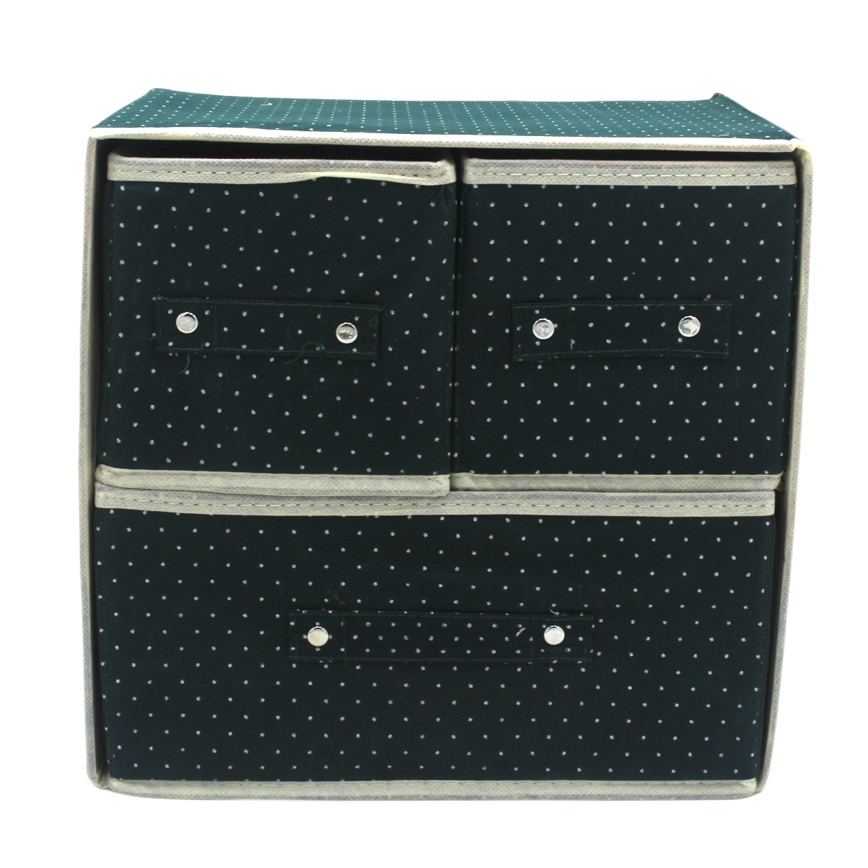 ... Foldable Woven Clothing Storage Box (Dotted Green) ...