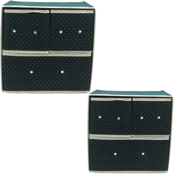 Foldable Woven Clothing Storage Box (Dotted Green) Set of 2