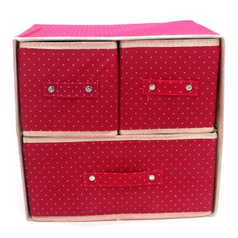 Foldable Woven Clothing Storage Box (Dotted Pink)