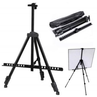 Folding Artist Telescopic Field Studio Painting Easel TripodDisplay Stand (Black)