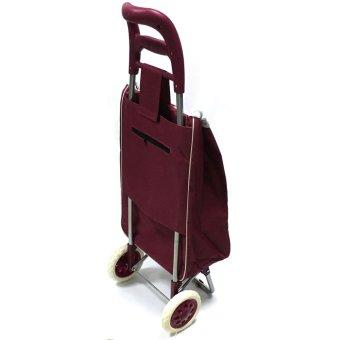 Folding Wheeled Festival Shopping Trolley Bag (Red wine) - 3