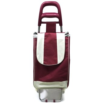 Folding Wheeled Festival Shopping Trolley Bag (Red wine)