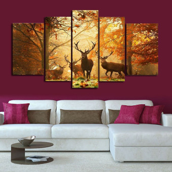 Forest Elk Wall Painting Canvas Art Print Picture Living Room Decor No Frame - intl