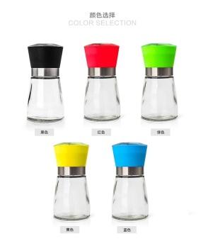 Free Shipping Salt and Pepper Mill Grinder Glass Pepper Grinder Shaker Spice Salt Container Condiment Jar Holder New Ceramic Grinding Bottles - intl - 4
