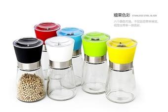Free Shipping Salt and Pepper Mill Grinder Glass Pepper Grinder Shaker Spice Salt Container Condiment Jar Holder New Ceramic Grinding Bottles - intl - 2