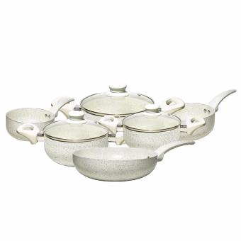 French Style Knobs and Handles Non-stick Ceramic Pan 9-piece Set (White)
