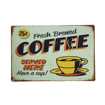 Fresh Brewed Coffee Metal Tin Sign
