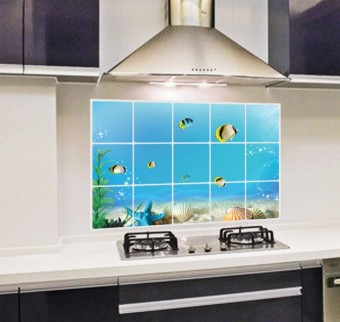 Fresh kitchen HIGH-TEMPERATURE resistant aluminum foil wall adhesive paper kitchen stickers
