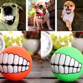 Funny Pet Dog Ball Teeth Silicon Toy Chew Squeaker Squeaky SoundDogs Play Toy - intl Price Philippines