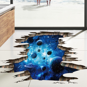 Galaxy 3D dark blue space ceiling roof adhesive paper wall stickers