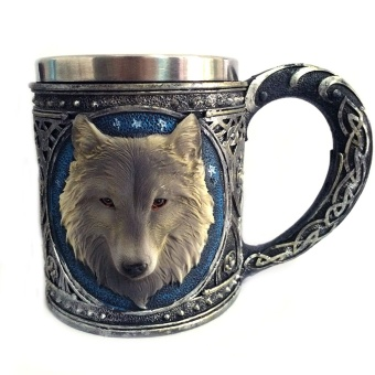 Game of Thrones 3D Wolf Mug Stainless Steel Wine glasses gilf Whiskey Cup Party Drinking Skeleton Claw Beer Steins - intl