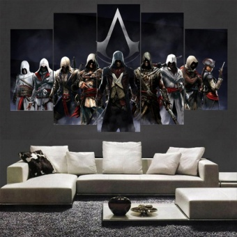 Game Poster Assassins Creed Full Characters Canvas PaintingUnframed 5 Pieces Room Decor Wall Art Picture Indoor Decoration -intl