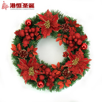 GANGHENG 40cm Christmas red and gold Christmas wreath