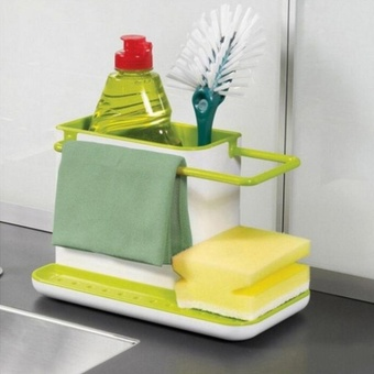 Gift Kitchen Sink Utensil Holder Drainer Plastic Rack Organizer Caddy Storage White Green - intl