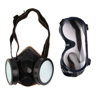 Gift Protection Filter Double Gas Mask Chemical Gas Respirator FaceMask Goggles Black - intl Price Philippines