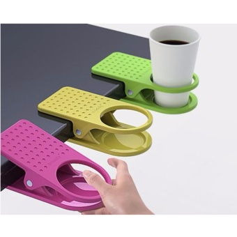 Glass Cup Holder Desk Table Clip Clamp (Pink)