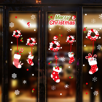 Glass Door dress up Christmas gift holiday sticker socks