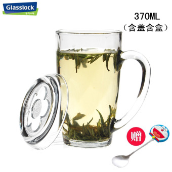 Glass lock large with lid tempered glass microwave milk cup