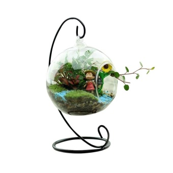 Glass Round with 1 Hole Flower Plant Hanging Vase Container Wedding Decor - intl