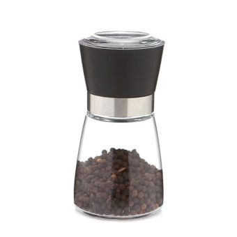 Glass Salt Pepper Mill Grinder Spice Container Condiment Jar Holder Grinding Bottle color:Black - 2