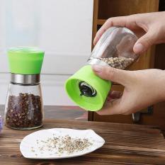 Glass Salt Pepper Mill Grinder Spice Container Condiment Jar HolderGrinding Bottle color:Green - intl