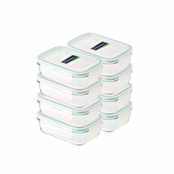 Glasslock Rectangle Type Food Keeper 400ml, 8-piece Set with Gift Box