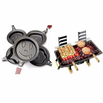 GMY 5 piece Egg Frying Pancakes Kitchen Pan with Stick HousewaresMini Pot with Hibachi Charcoal Grill (Black) Price Philippines