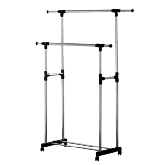 GMY Adjustable Double Rail Garment Rack with Shoes Shelf onWheels(Scalable)