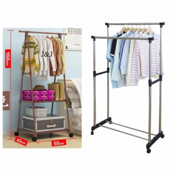 GMY Heavy Duty Garment Rack (Brown) with Adjustable Double PoleClothes Rack