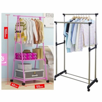 GMY Heavy Duty Garment Rack (Pink) with Adjustable Double PoleClothes Rack
