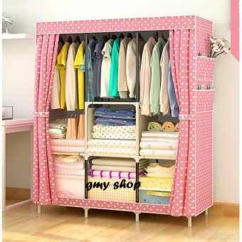 GMY Large Size Quality Fashion Simple Multifunction Cloth WardrobeStorage Cabinets C-77130 (Pink)