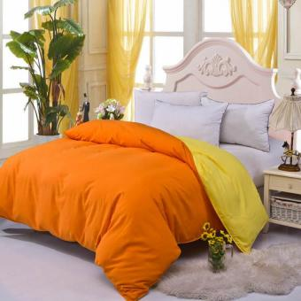 GoGoLife Cotton Bed Protector Two-tone Home Quilt CoverSingle/Full/Queen/King size-13# Orange and Yellow