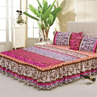 GoGoLife Cotton Soft Bed Skirt Bedsheet Bedclothes High Quality -33# Purple